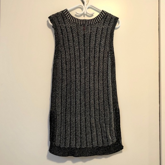 Knit Sweater Vest Tunic with Side Slits